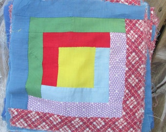 antique log cabin quilt blocks lot of 26 hand sewn Americana primary colors