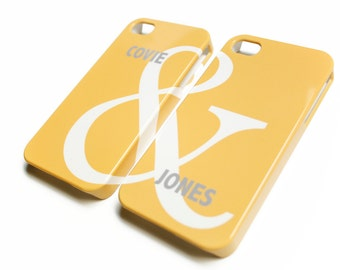 2 Phone Cases - Ampersand, Gray and Yellow, His and Hers Gift, Couples Gift, Anniversary Gift, Valentines Day Gift, Minimalist Galentines