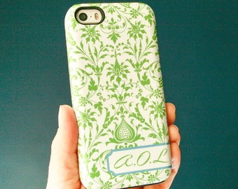 Personalized iPhone 6S Case Preppy iPhone SE, 5S Case, Green Damask iPhone 5C Case, iPhone 6 Plus Case
