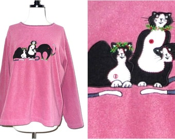 Funny Cat Fleece Pink Pullover with Three Black Cats Appliqued. Winter Sweater Top. Christmas. Silly Funny Sale