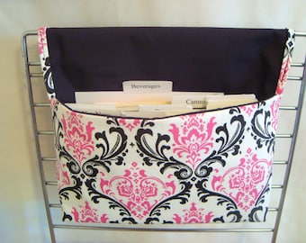 20% Off Coupon Organizer / Budget Organizer Holder  - Attaches To Your Shopping Cart-  Black and Pink Damask Duck Canvas Decor Fabric