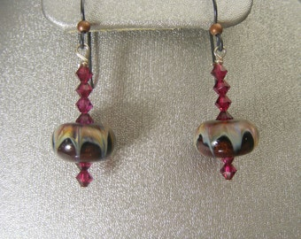 Boro Lampwork Earrings with Swarovski Crystals (ES12)