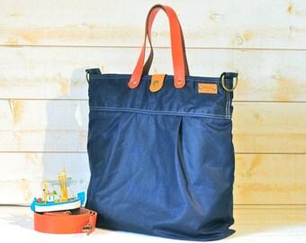 WAXED CANVAS Diaper bag Messenger bag / TOTE / Dark Navy/ Leather straps / Men messenger / Travel bag / Vogue k1