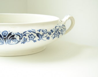 Blue Transfer Ware . Ironstone Serving Bowl . Home Decor . Tableware