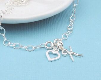 Silver Heart Initial Bracelet,  Sterling Silver, Letter Bracelet