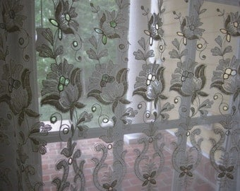 Sheer Curtain, Sheer Beige Floral Embroidered Curtain Panel 56 wide x 82 long