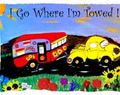 Retro Camper Trailor and truck Travel Throw Blanket from my original art