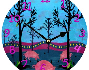 Pig farm  wall clock from my art