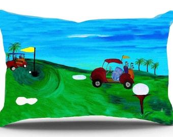 Golf course pillow sham from my art