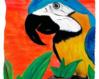 Parrot Bath, Beach or Hand Towel from my art