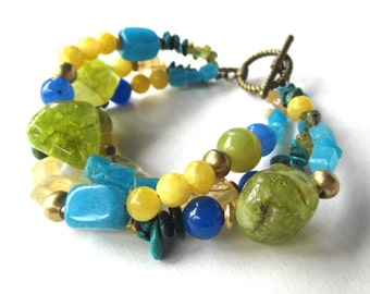 Blue yellow green bracelet, gemstone boho bracelet, bohemian jewelry with blue turquoise, yellow citrine, green peridot