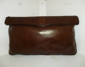Vintage 70's - Anne Klein for Calderon - Lion's Head - Espresso Brown - Leather - Fold over - Clutch - Handbag