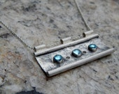 Sterling Silver Aquamarine Bar Necklace