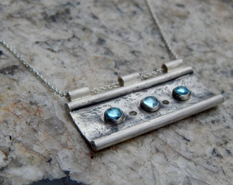 Sterling Silver Aquamarine Bar Necklace In Stock