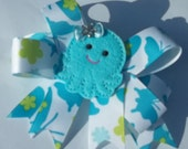 Aqua Beach vacation hair bow barrette Octopus for toddler girls