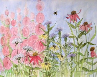 Botanical Watercolor Illustration Pink Hollyhocks Garden Flowers and Bees