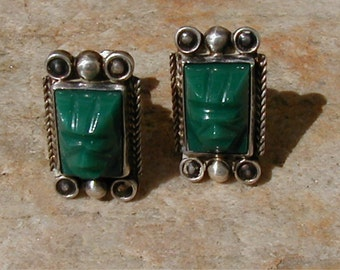 Vintage Sterling Tribal Mask Mexico Earrings