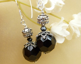 Black faceted glass and silver earrings