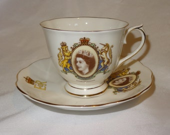 Vintage Queen Elizabeth Coronation Cup and Saucer by Royal Albert Bone China 1953