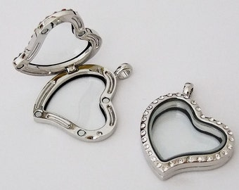 Floating Glass Locket Silver Plated Heart With Crystal Stones