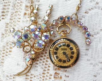 Handmade Vintage Jewelry Assemblage Necklace / Pendant, Steampunk, Statement, AB / Aurora Borealis Rhinestones, Black, Vintage Watch, OOAK