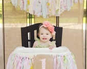 Girls High Chair Banner. First Birthday Party Supplies.  Shabby Chic High Chair Banner with Burlap Flag.  Matching Backdrop. Soft florals
