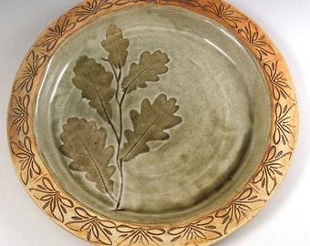 Decorative Ceramic Plate - Dinner Plate - Oak Leaves - Hand built Pottery Serving Plate - 212