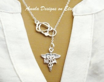 MA Medical Assistant Caduceus Stethoscope Lariat Necklace