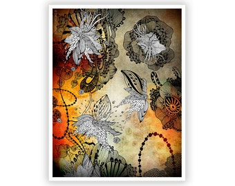 Nightplay by Iveta Abolina -  Floral Illustration Print