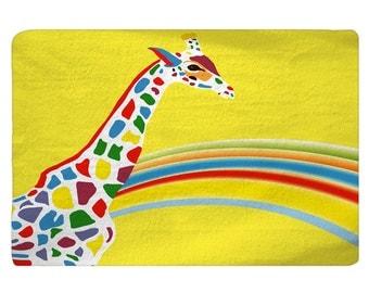Rainbow Giraffe Custom Memory Foam Bath Mat - 27x18 inches - Designed to match our same shower curtain design - Can Personalize