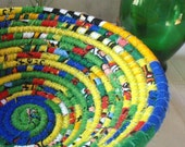 Bright and Bold Coiled Fabric Basket in Primary Colors - Handmade by Me