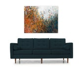 Abstract Impressionist Art Print Painting Digital Download DIY Reproduction orange teal white modern home decor New Horizons by Torrant