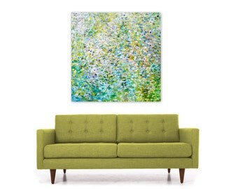 Digital Print, Abstract Painting Download, Square Wall Art Reproduction, green white turquoise blue yellow, To Live by Jessica Torrant