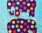 2 Fabric Iron On Elephant Appliqués