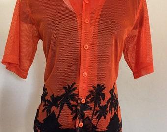 Vintage Beach Resort Wear Hawaiian Print Shirt CoverUp