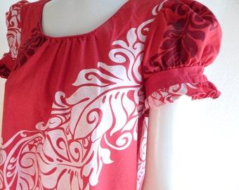 Vintage Hawaiian MuuMuu, hawaiian dress, red muumuu, 1970s