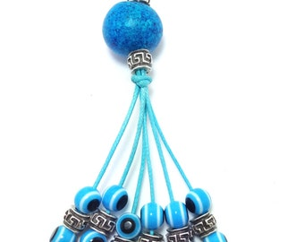 Greek key evil eye keyring - Greek mati - Car/home gift - Car accessories - Home decoration - Greece - Lucky amulet
