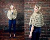 1950s Silver Blue Mink Fur Shrug Jacket / 1960s Blonde Authentic Fur Wrap / Hollywood Glamor / Starlet Bolero Coat