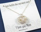 Birds Nest Necklace , Birds Nest With Three Eggs, Mothers Necklace, Sterling Silver Chain