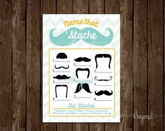 Mustache and Chevron - Name That 'Stache - Baby Shower Game Card with Answers - Digital file - Instant Download