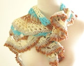 Scarf, Shawlette, Accessory, blue, white, pink bronze simple lace, wool
