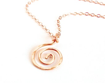 Rose Gold Spiral Pendant. Rose Gold spiral sun swirl necklace pendant.