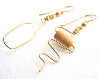 Wine Bottle and Cork Screw Earrings. Gold Wine Jewelry. Gold Cork Earrings. Wine Lovers Earrings. Wine Cork Jewelry. Gold Wine Bottle Opener