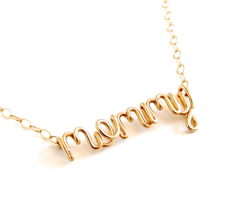solid 14k gold mommy necklace new mom necklace mom necklace. Black Bedroom Furniture Sets. Home Design Ideas
