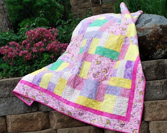 Cotton Handmade Large Lap Quilt, Ballerina Princess, 54 by 62 bedding pink blanket Quiltsy Handmade