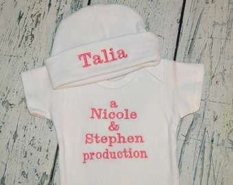 Parent Production bodysuit - Custom You choose Color - Newborn Announcement