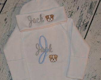 Personalized Infant Gown and  Cap Set Monogrammed Bulldog Layette