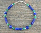 Lapis Bracelet with Turquoise Accents and Sterling Silver Spacers - Small to Plus Size
