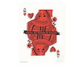 Queen of Hearts with Banner Illustrated Art Print