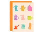 Brew Up, Tropical Colors, Illustrated Greeting Card